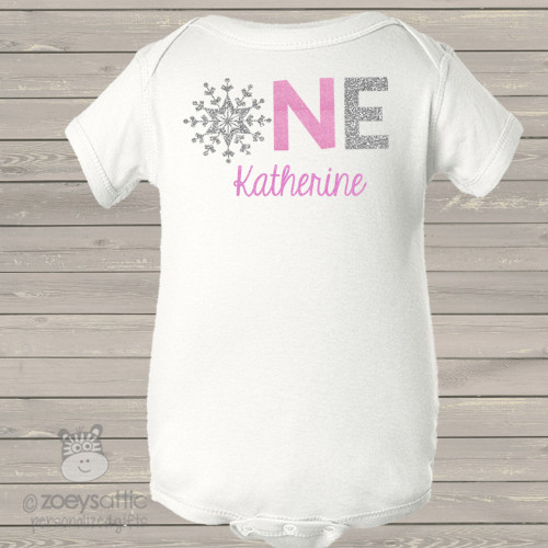 First birthday snowflake sparkly glitter bodysuit