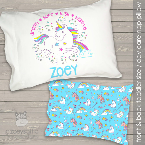 Toddler travel pillow personalized unicorn