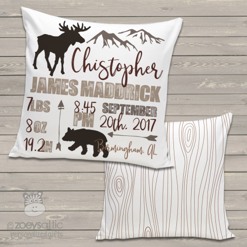 Rustic mountain animals birth announcement pillow with back pattern