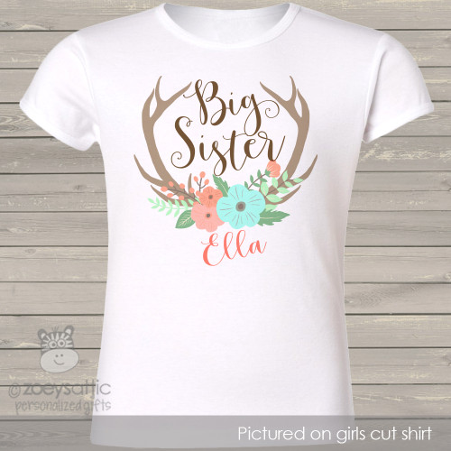 Big sister floral antler personalized shirt