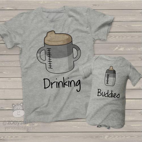 Sibling drinking buddies two shirt set