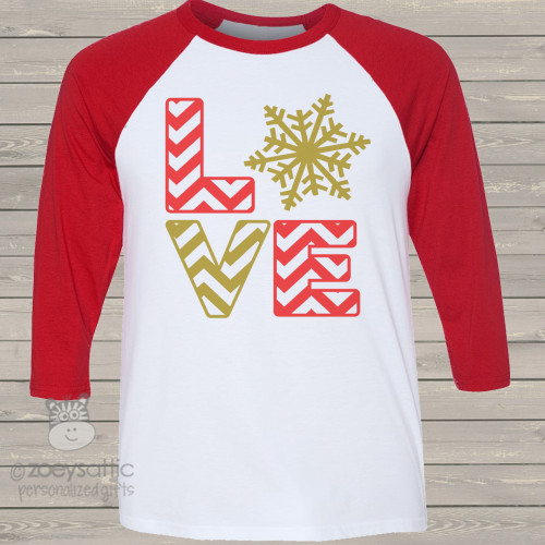 Snowflake chevron love ADULT raglan shirt