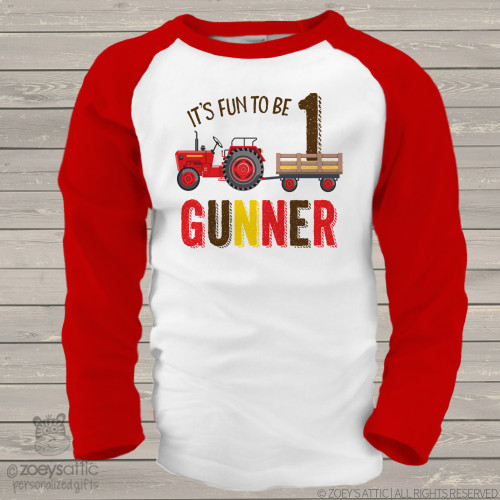 First birthday red tractor personalized raglan shirt