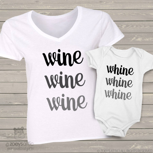 Wine and whine mom baby matching shirt gift set