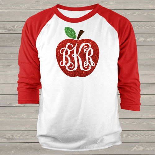 Apple monogram sparkly glitter ADULT raglan shirt