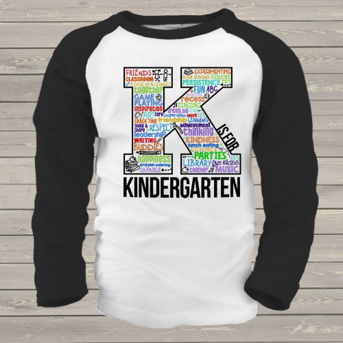 Student K is for kindergarten word collage raglan shirt