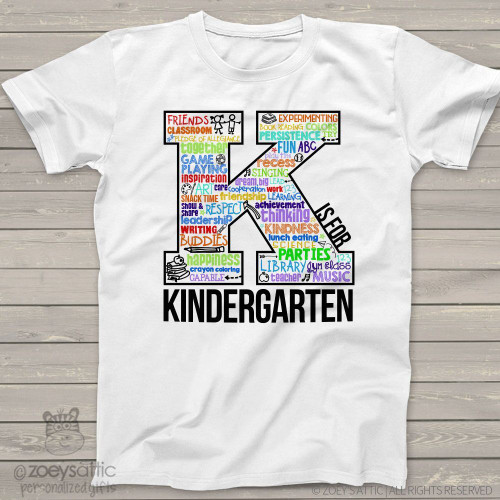 Student K is for kindergarten word collage Tshirt
