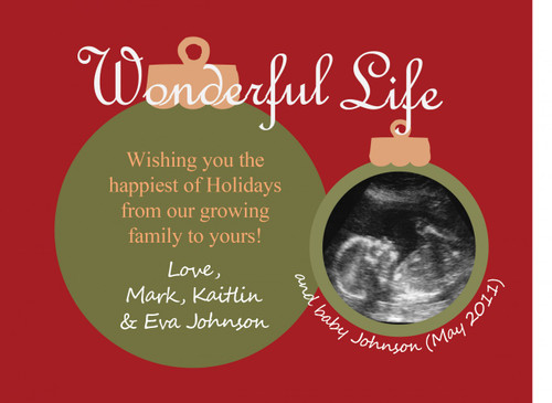 PRINT YOURSELF - Ultrasound pregnancy announcement Christmas card