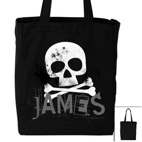 Halloween bag skull and cross bones personalized DARK trick or treat bag