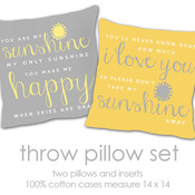Custom you are my sunshine throw pillow SET of TWO pillows - one gray one yellow matching COMPANION throw pillows