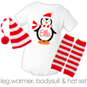 Christmas bodysuit penguin personalized baby bodysuit with matching striped hat and leg warmer set