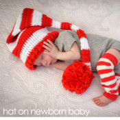 Baby hat red and white striped holiday knit hat