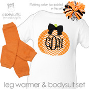 First Halloween bodysuit monogram chevron pumpkin bodysuit with leg warmer and corker bow matching set