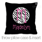 Zebra print initial with name personalized throw pillow with BLACK fabric pillowcase