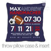Birth announcement pillow sports football, soccer ball, baseball custom throw pillow with DARK fabric pillowcase