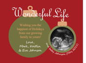 Ultrasound pregnancy announcement Christmas card