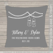 Wedding custom throw pillow with DARK pillowcase
