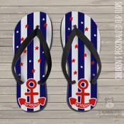 Patriotic anchor kids flip flops