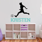Soccer girl with name fabric vinyl wall decals