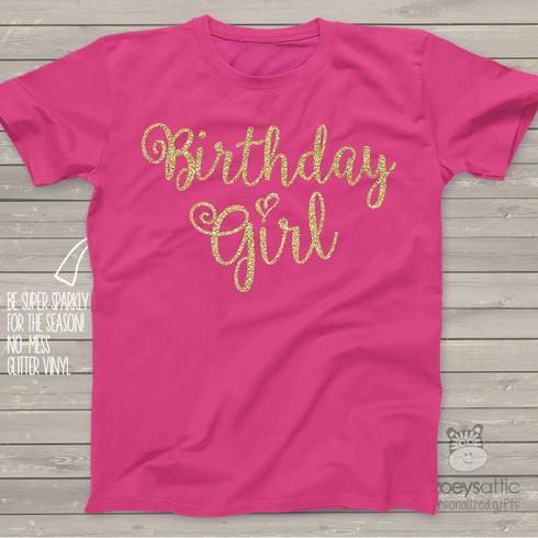 Glitter Birthday Shirt Sparkle Birthday Girl Dark T Shirt