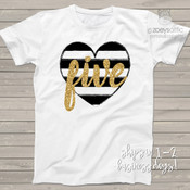 Fifth birthday black white heart gold glitter five Tshirt