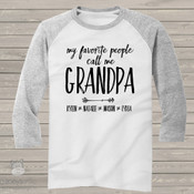 Call me grandpa arrow raglan baseball shirt