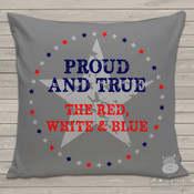Patriotic proud and true gray fabric throw pillow