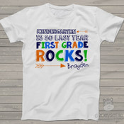 Back to school kindergarten is so last year first grade rocks colorful Tshirt