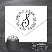 Monogram initial round address self inking stamp