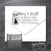 Mason jar Christmas card return address self inking stamp
