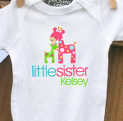 Personalized baby little sister funky giraffe onesie or Tshirt