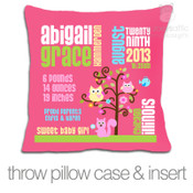 Birth announcement pillow GIRLS woodland friends custom throw pillow with DARK fabric pillowcase