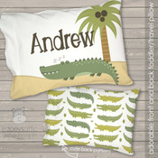 Alligator crocodile personalized travel pillow