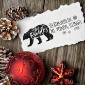 Winter polar bear return address self inking stamp
