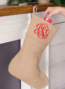 Burlap Monogram Stocking