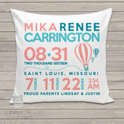 Hot air balloon birth announcement pillow