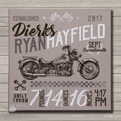 Vintage motorcycle birth announcement canvas