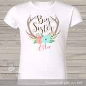 Big sister floral antler personalized shirt