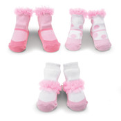 Girls set of three chiffon ruffle socks