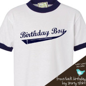 Birthday boy personalized front and back team ringer style Tshirt
