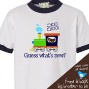 Big brother to be guess whats new train pregnancy announcement ringer style Tshirt