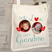 Grandma tote we love grandma (or grandpa) personalized photo tote bag