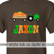 Fall shirt tractor and pumpkin personalized DARK Tshirt