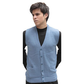 Alpaca Wool Button Down Golf Vest SZ XXL Soft Blue