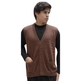 Mens Superfine Alpaca Wool Button Down Golf Vest Size M Brown