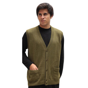 Mens Superfine Alpaca Wool Button Down Golf Vest Size L Leaf Green