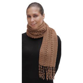 Superfine Alpaca & Merino Wool Handknit Scarf Camel