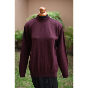 Crewneck SUPER FINE ALPACA Wool Sweater~SZ L~Dark Wine