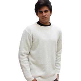 Men's Crewneck Alpaca Wool Sweater Size L Ivory