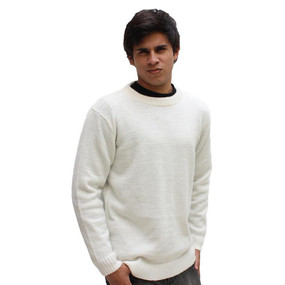 Men's Crewneck Alpaca Wool Sweater Size XL Ivory
